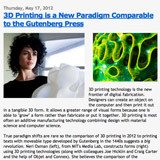 "An image of the text article with the headline ""3D Printing is a New Paradigm Comparable to the Gutenberg Press."""